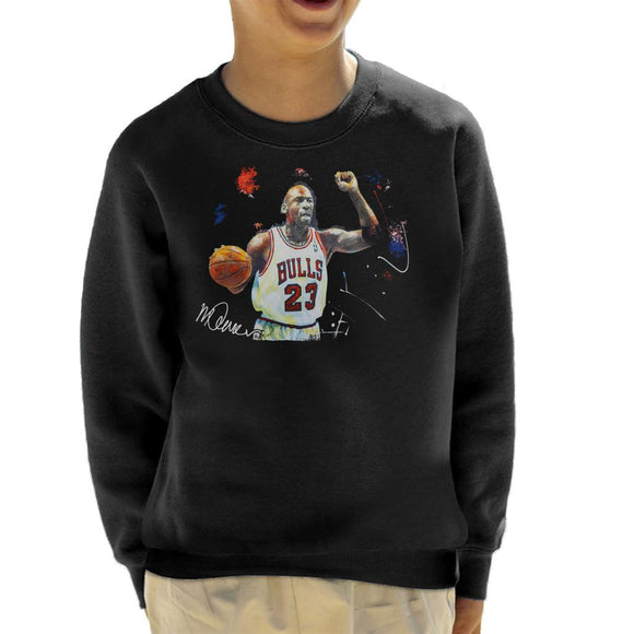 Sidney Maurer Original Portrait Of Michael Jordan Chicago Bulls Basketball Kid's Sweatshirt