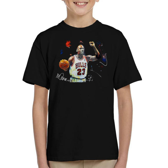 Sidney Maurer Original Portrait Of Michael Jordan Chicago Bulls Basketball Kid's T-Shirt