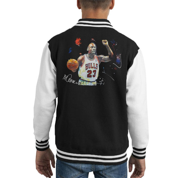 Sidney Maurer Original Portrait Of Michael Jordan Chicago Bulls Basketball Kid's Varsity Jacket