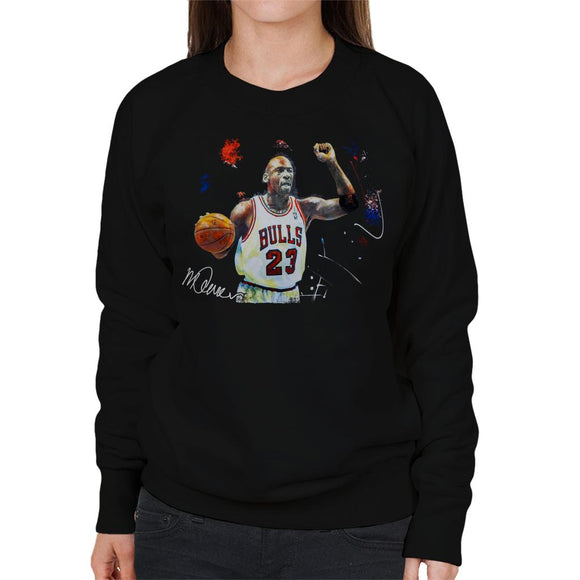 Sidney Maurer Original Portrait Of Michael Jordan Chicago Bulls Basketball Women's Sweatshirt