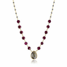 Load image into Gallery viewer, ela rae ara pendant necklace garnet hematite labradorite 14k yellow gold plate