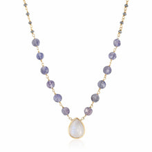 Load image into Gallery viewer, ela rae ara pendant necklace polite hematite rainbow moonstone 14k yellow gold plate