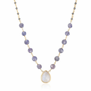 ela rae ara pendant necklace polite hematite rainbow moonstone 14k yellow gold plate
