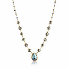 Load image into Gallery viewer, ela rae ara pendant necklace pyrite iolite labradorite 14k yellow gold plate