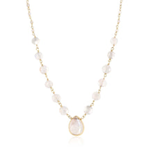 Load image into Gallery viewer, ela rae ara pendant necklace rainbow moonstone 14k yellow gold plate