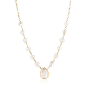 ela rae ara pendant necklace rainbow moonstone 14k yellow gold plate
