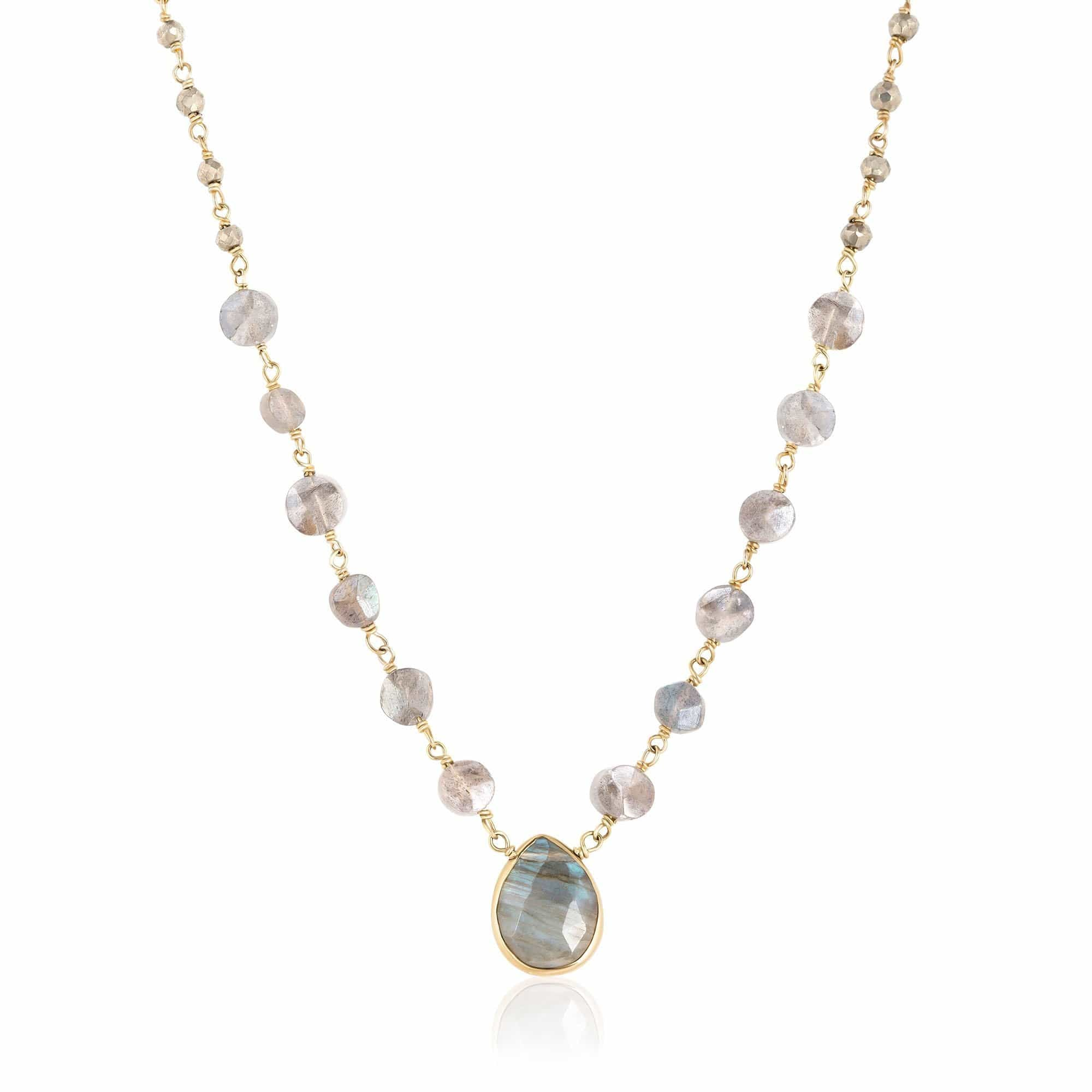 ela rae ara pendant necklace labradorite pyrite 14k yellow gold plate