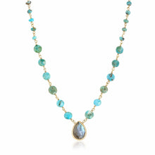 Load image into Gallery viewer, ela rae ara pendant necklace turquoise labradorite 14k yellow gold plate