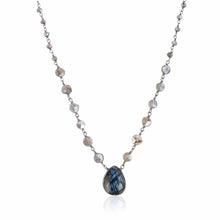 Load image into Gallery viewer, ela rae ara pendant necklace labradorite black rhodium plate
