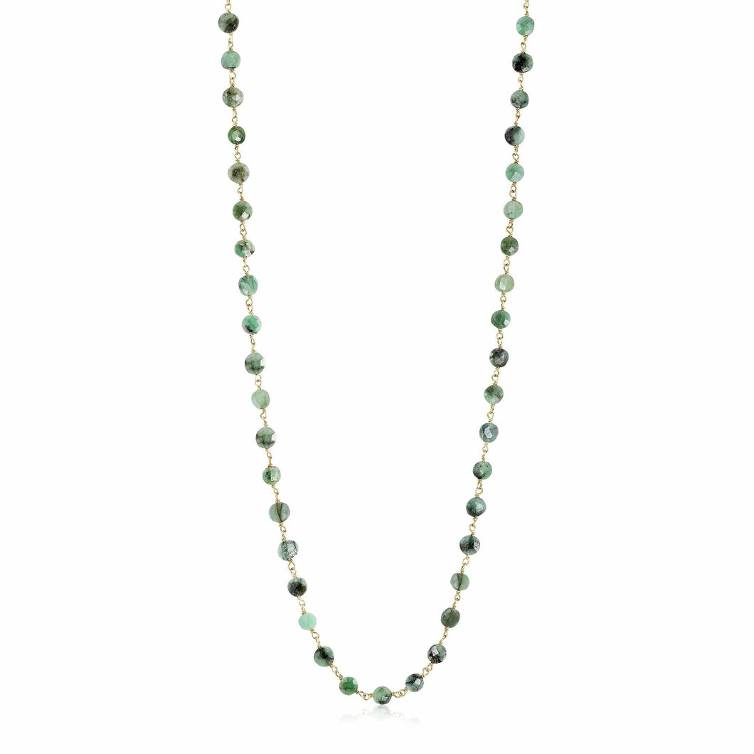 ela rae diana coin necklace emerald 14k yellow gold plate