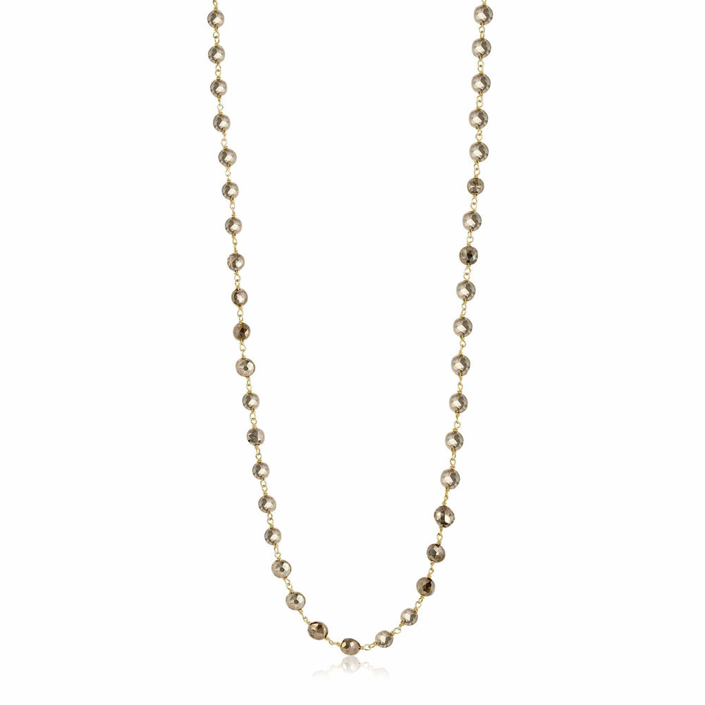ela rae diana coin necklace pyrite 14k yellow gold plate