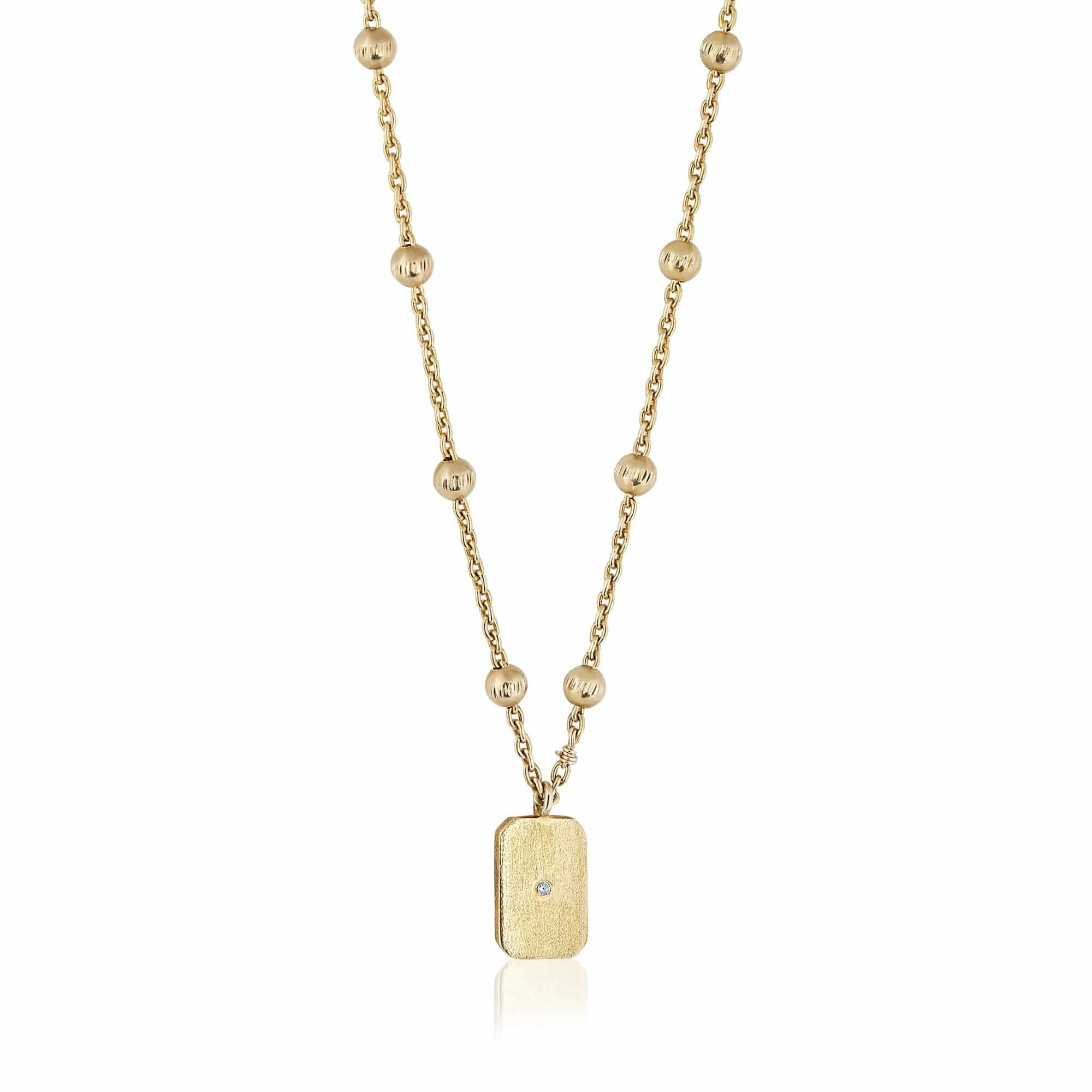 ela rae lara mini rectangle necklace matte 14k yellow gold plate