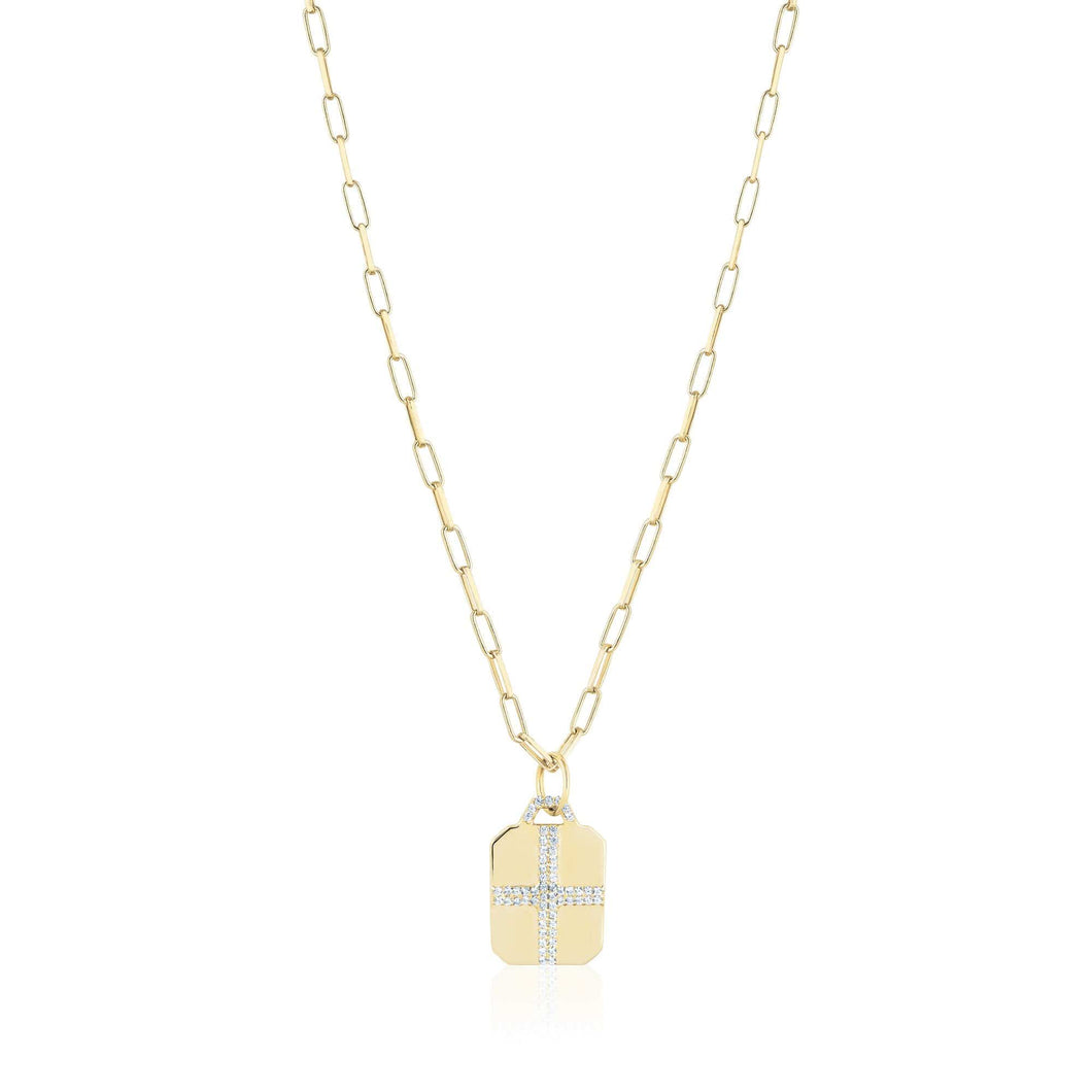 ela rae cross dog tag white zircon 14k yellow gold plate