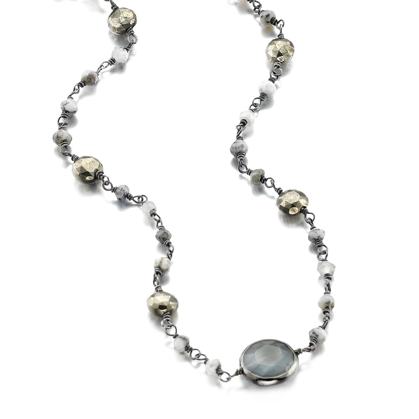 ela rae libi II satellite necklace iolite pyrite rainbow moonstone 14k yellow gold plate