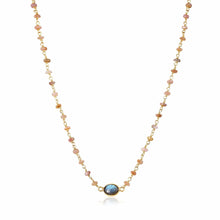Load image into Gallery viewer, ela rae libi choker necklace brown moonstone labradorite 14k yellow gold plate