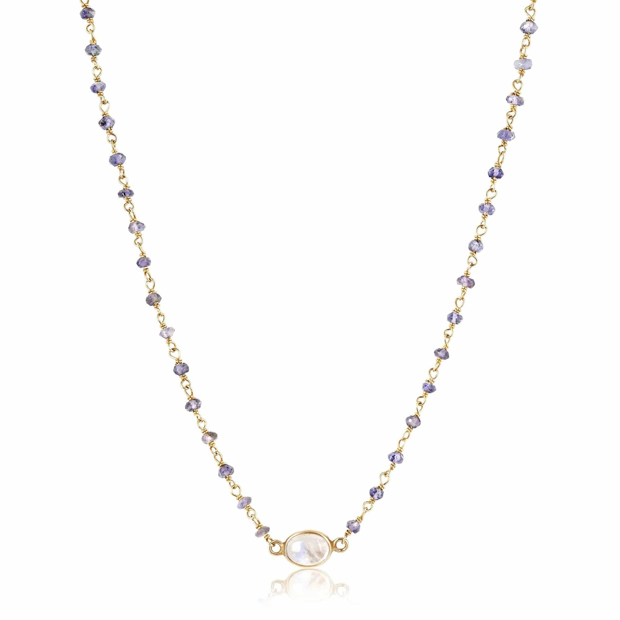 ela rae libi choker necklace iolite rainbow moonstone 14k yellow gold plate