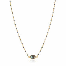 Load image into Gallery viewer, ela rae libi choker necklace mystic black spinel labradorite 14k yellow gold plate