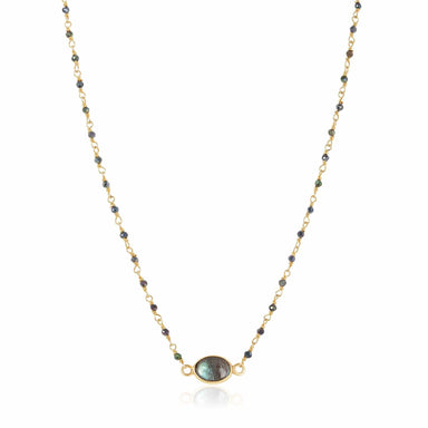 ela rae libi choker necklace mystic black spinel labradorite 14k yellow gold plate