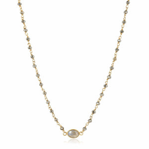 ela rae libi choker necklace pyrite iolite 14k yellow gold plate