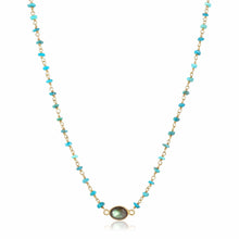 Load image into Gallery viewer, ela rae libi choker necklace turquoise labradorite 14k yellow gold plate