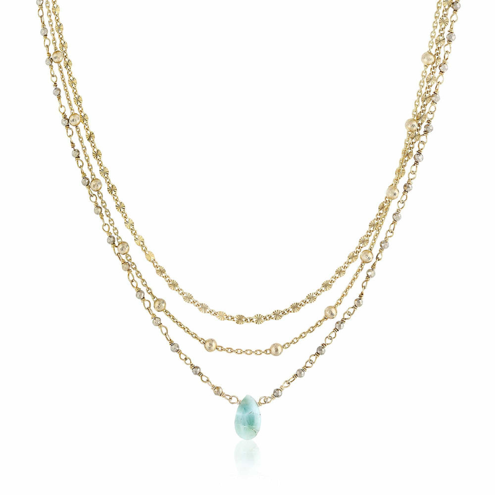 ela rae lina three in one triple layer necklace pyrite Larimar  14k yellow gold plate