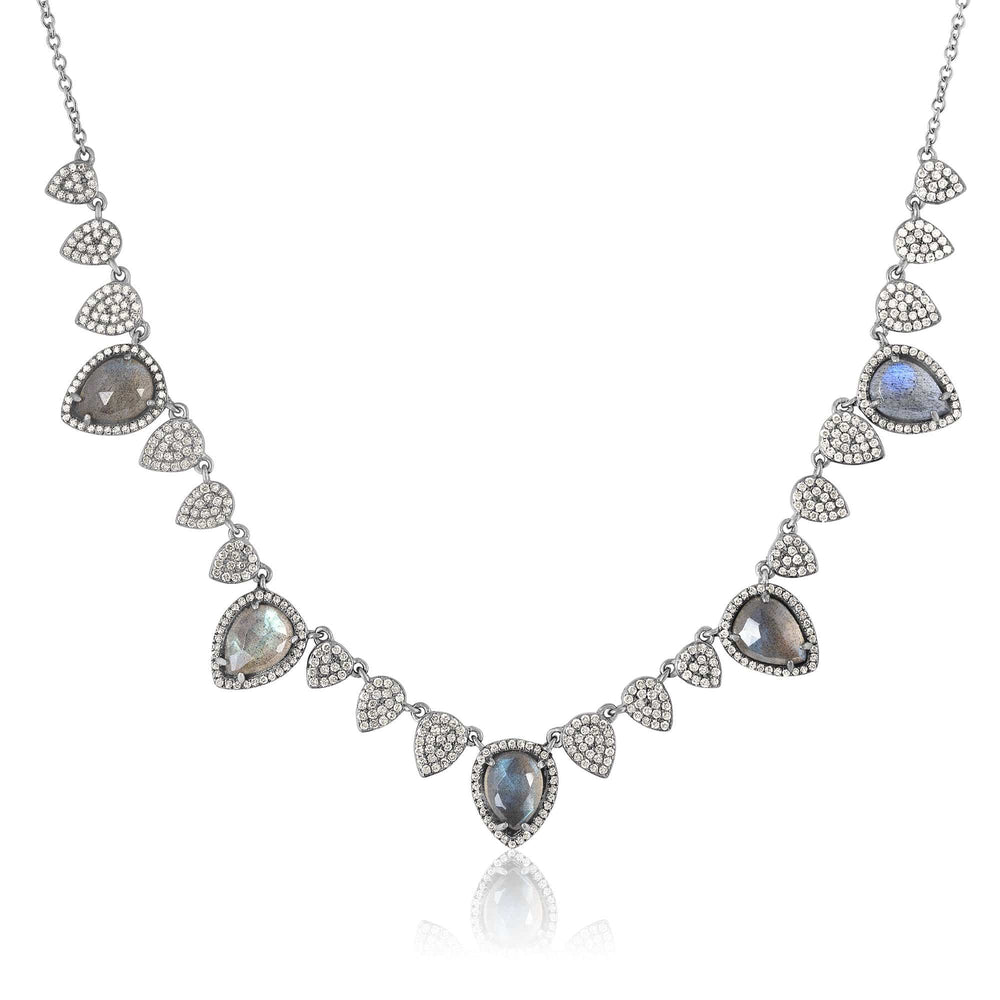 ela rae labradorite luxe diamond pear collar necklace sterling silver