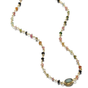ela rae libi choker necklace tourmaline labradorite 14k yellow gold plate
