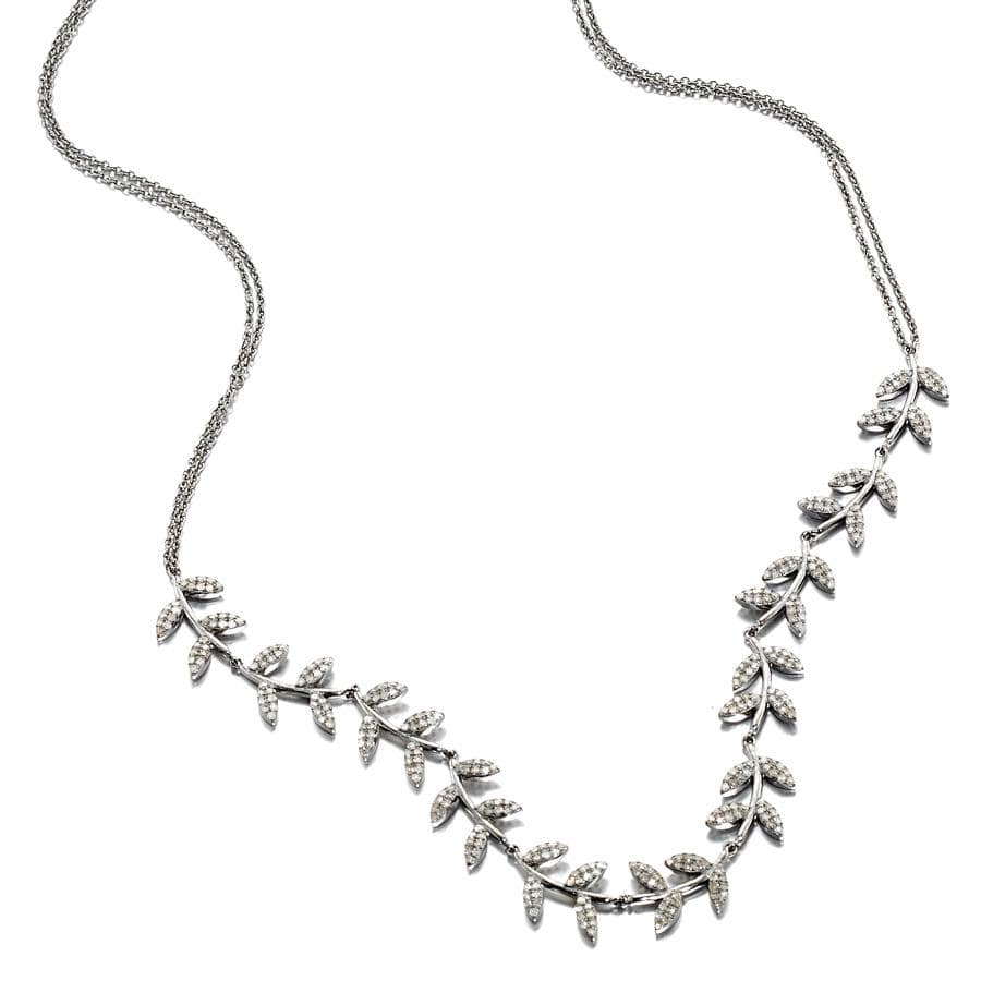 ela rae lela luxe diamond leaf collar necklace sterling silver