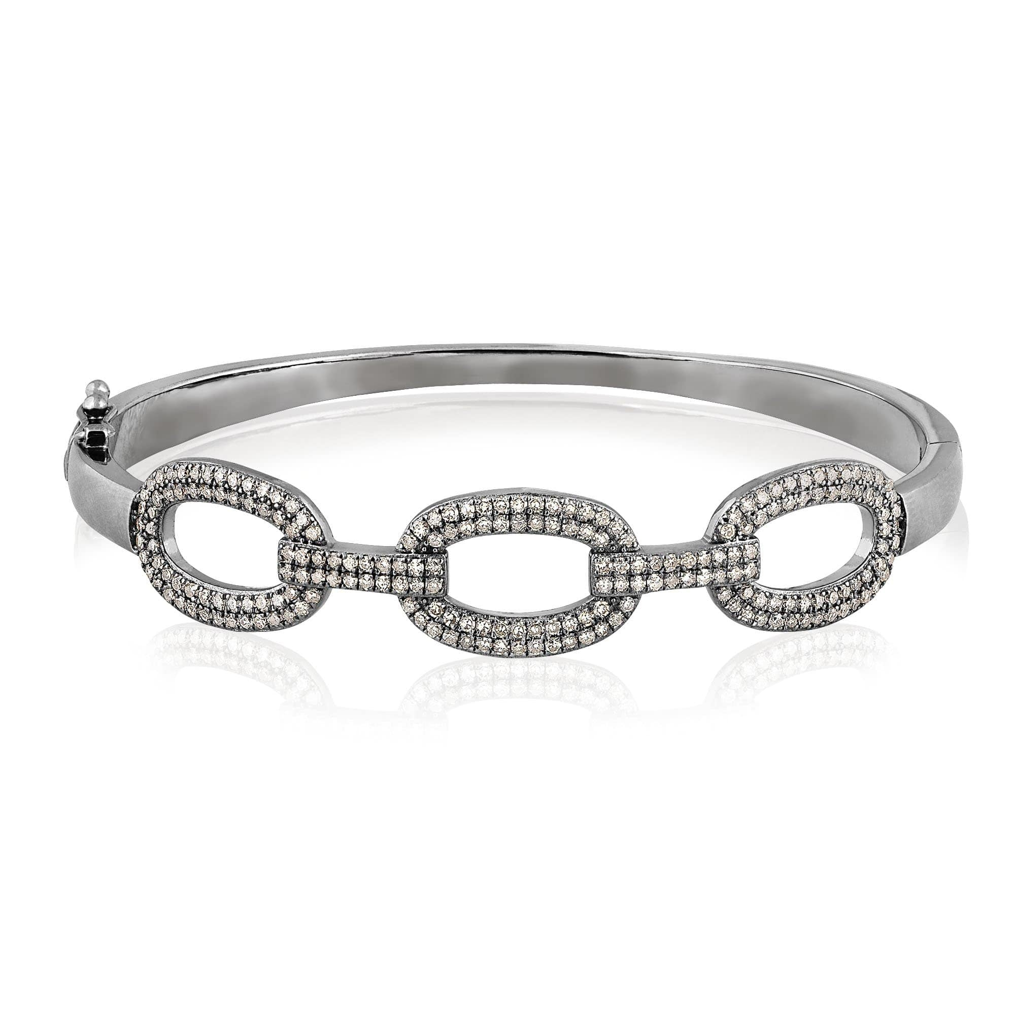ela rae link luxe diamond bangle sterling silver