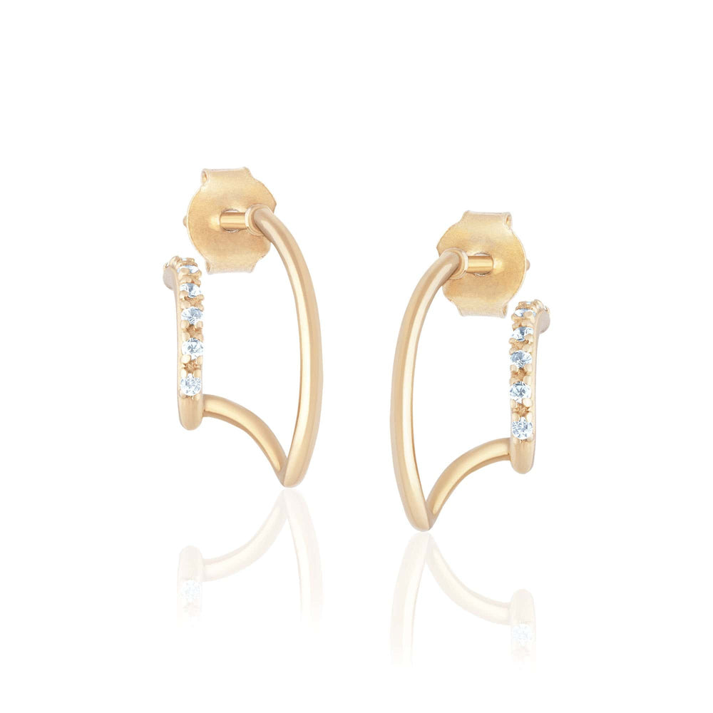 ela rae double pave huggies white zircon 14k yellow gold plate