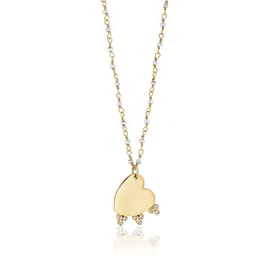 ela rae heart bezel trio necklace white zircon 14k yellow gold plate