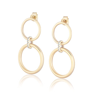 ela rae double ring hoops white zircon 14k yellow gold plate
