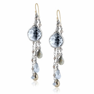 ela rae fish hook multi cluster earrings dendrite opal multi color blue sterling silver
