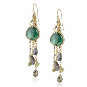 ela rae fish hook multi cluster earrings emerald multi color green 14k yellow gold plate
