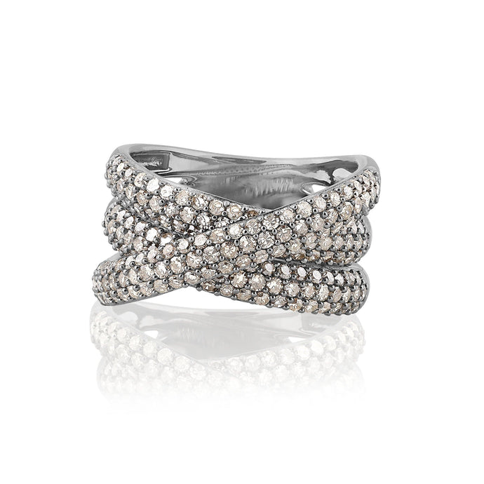 ela rae lara luxe pave diamond band ring sterling silver
