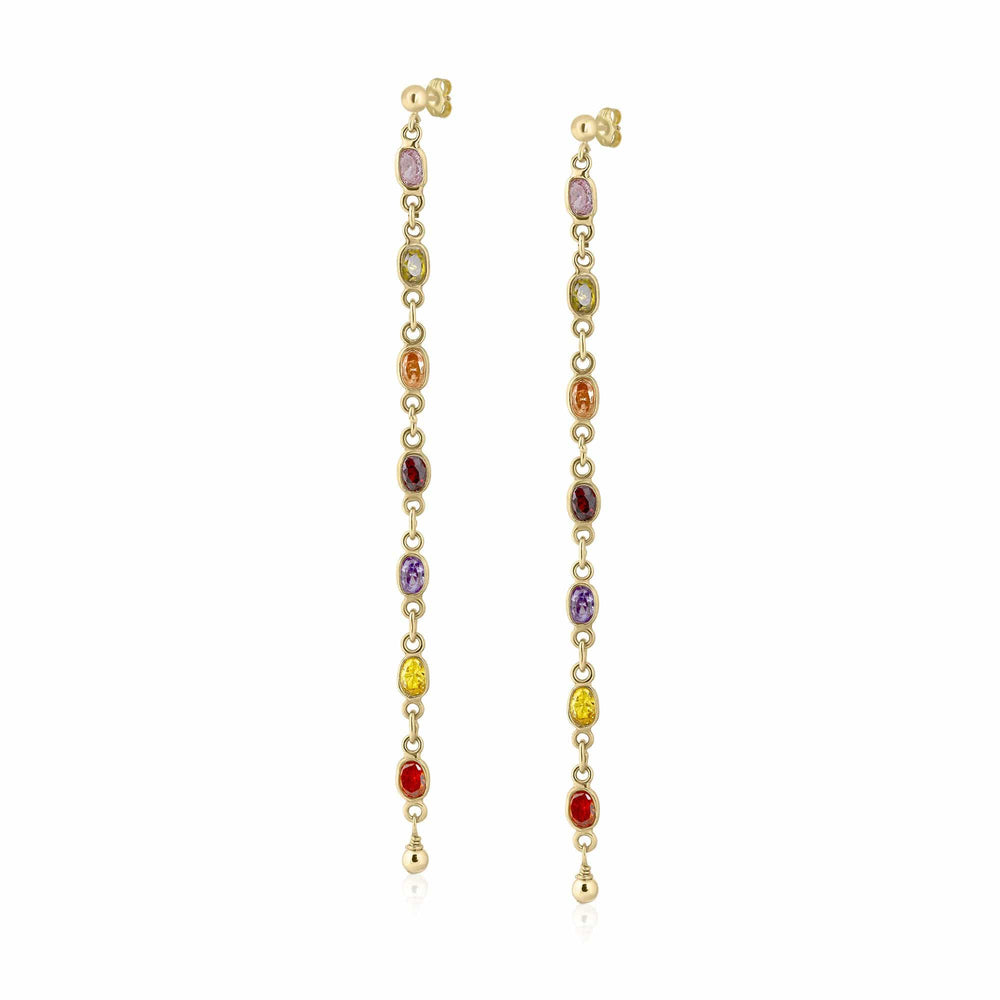 ela rae callie cz dangles multicolor cubic zirconia 14k yellow gold plate