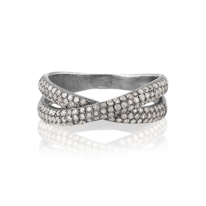 ela rae lara luxe pave criss cross diamond ring sterling silver