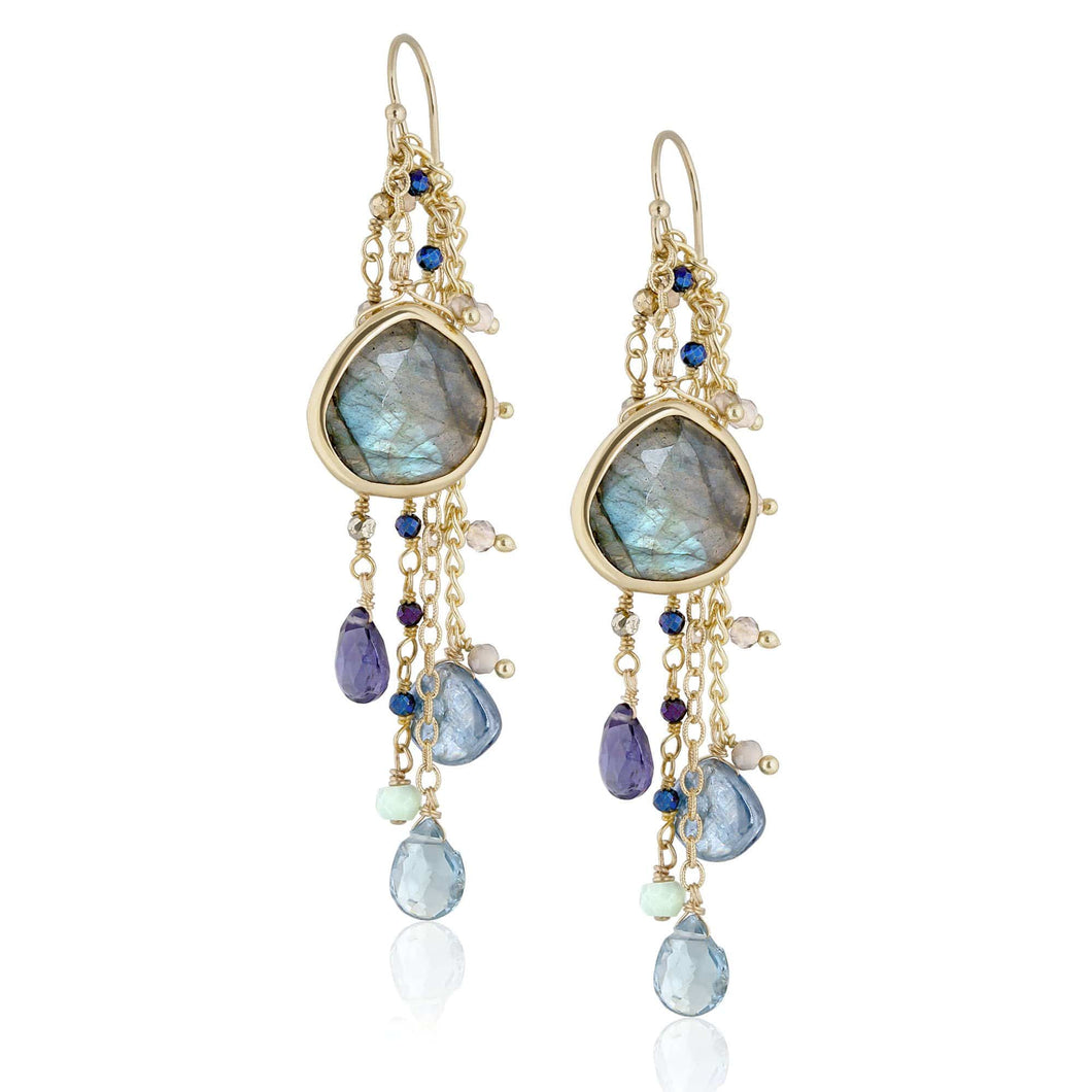 ela rae fish hook multi cluster earrings labradorite multi color blue 14k yellow gold plate
