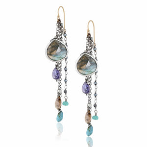 ela rae fish hook multi cluster earrings labradorite multi color blue sterling silver