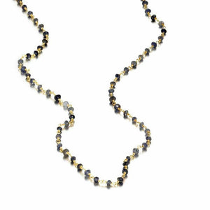 ela rae diana rondelle necklace iolite 14k yellow gold plate