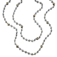 Load image into Gallery viewer, ela rae diana satellite necklace labradorite  pyrite sterling silver