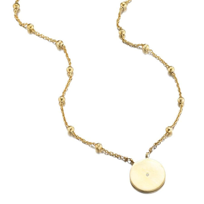 ela rae lara ball chain disc charm necklace 14k yellow gold plate