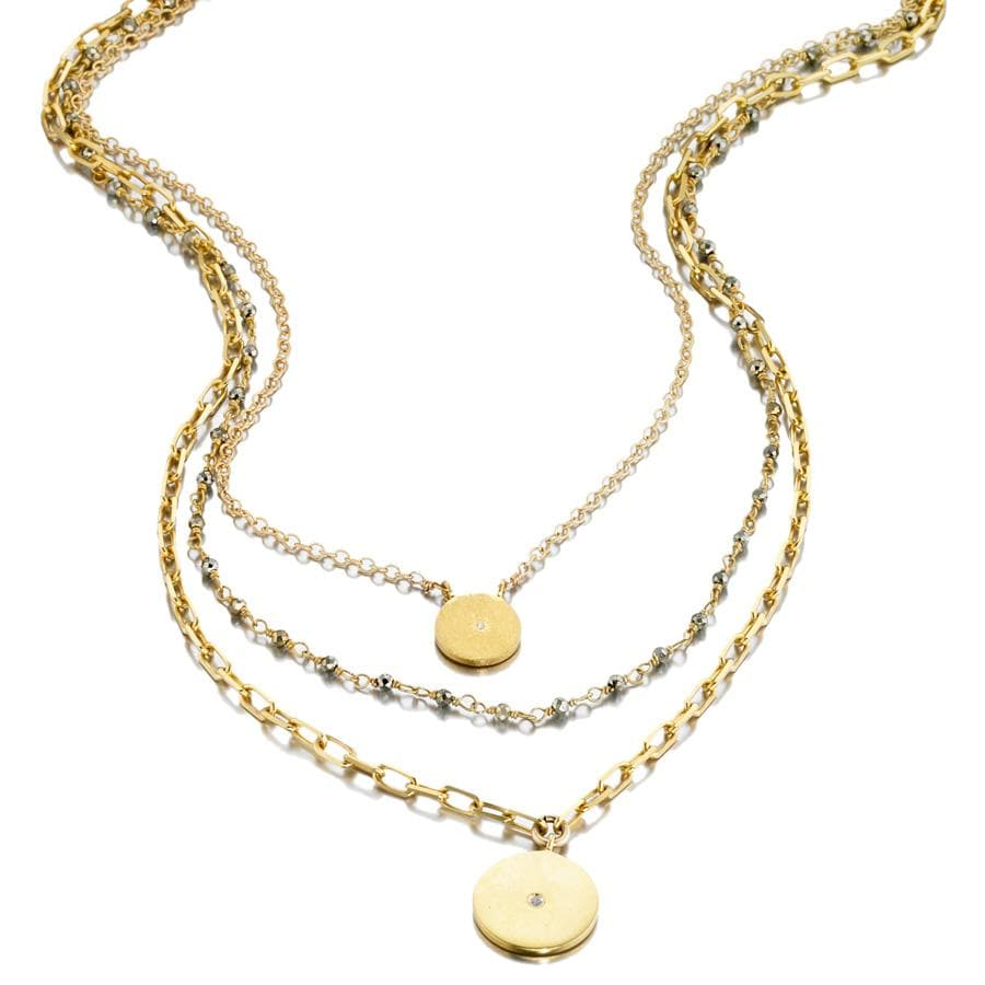 ela rae lara three in one disc necklace pyrite 14k yellow gold plate