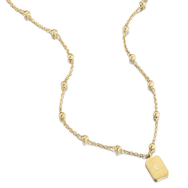 ela rae lara mini rectangle necklace 14k yellow gold plate matte