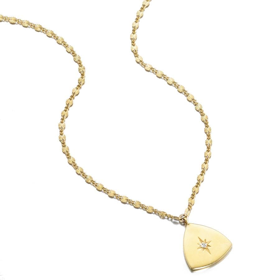ela rae lara shield  triangle starburst charm necklace 14k yellow gold plate