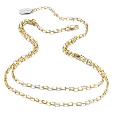 ela rae lina double rectangle chain necklace 14k yellow gold plate