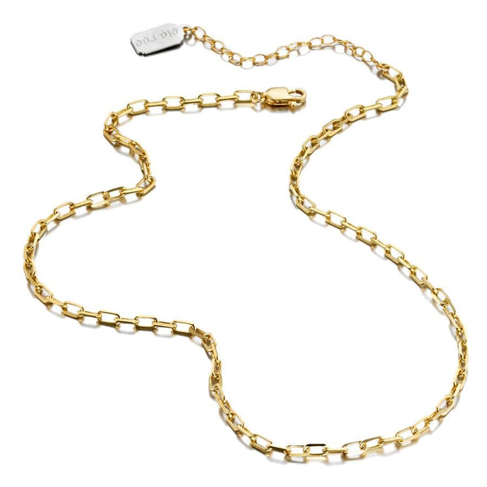 ela rae lina rectangle chain necklace 14k yellow gold plate