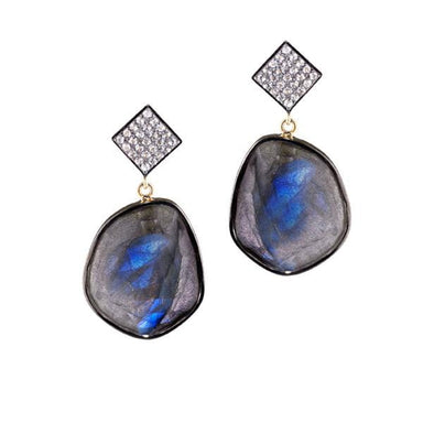 ela rae cora earrings white zircon labradorite sterling silver