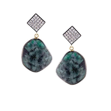 ela rae cora earrings white zircon emerald sterling silver