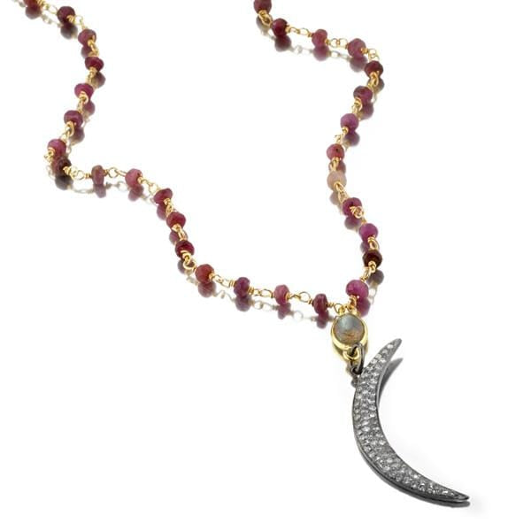 ela rae anita diamond moon necklace ruby 14k yellow gold plate